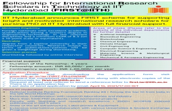 Fellowship for International Research Scholars in Technology at IIT Hyderabad