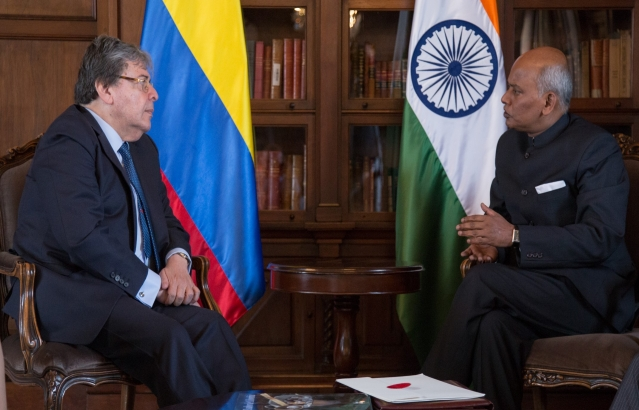 Ambassador presenting Credentials to Minister Holmes Trujillo